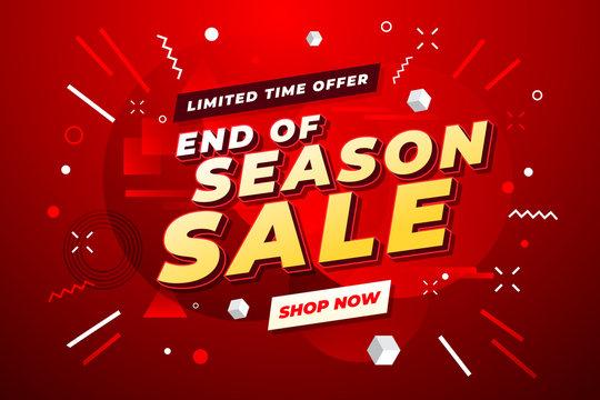 End of Season Sale banner. Sale banner template design.