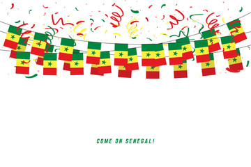 Senegal garland flag with confetti on white background, Hang bunting for Senegal celebration template banner.