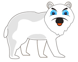 Vector illustration north animal polar bear.Arctic animal