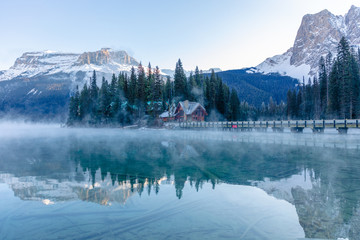 Winter at Emerald Lake of Yoho National Park British Columbia Canada