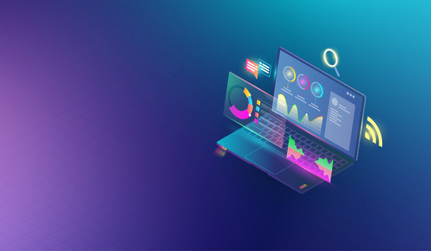 Financial analytic and business infographic elements on screen laptop concept. Isometric set of infographics with data financial graphs or diagrams and information data statistic Vector.