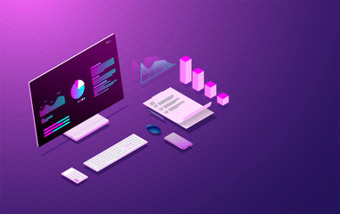 business analysis system on computer laptop and graph screen, web development and coding vector.