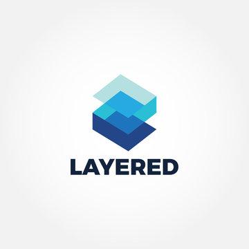 Modern Technology Blue Layer Logo Sign Symbol Icon