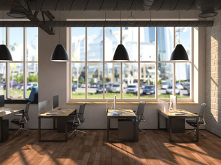 Side view of a white office of a company with a two large table, two computers standing on them, a panoramic window and a set of drawers near a wall. 3d rendering.
