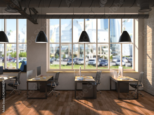 Side view office set Airport Side View Of White Office Of Company With Two Large Table Two Fotoliacom Side View Of White Office Of Company With Two Large Table Two