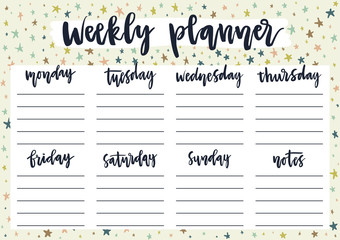 Cute weekly planner for 2019 year on pastel background with stars. A4 print ready template for weekly and daily planner with lettering. Organizer and schedule with notes. Self-organization concept.
