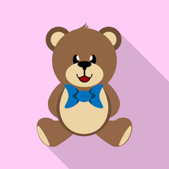 Teddy bear toy with a blue bow, simple image, long shadow