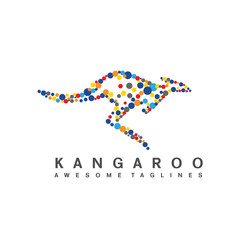 creative cute vector of kangaroo made of colorful dots, colorful circle dot as kangaroo logo