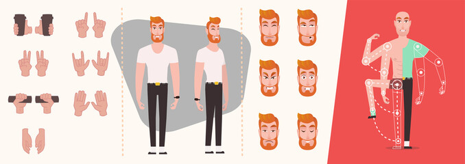 Human gestures. Man hand outline isolated on white background. Set of People hands, gestures and symbols isolated. Emotions set. Cartoon character animation set for your motion design - vector