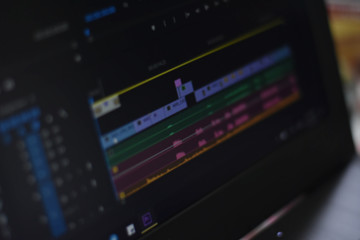 Timeline video and sounds of video editing tool, blur concept.