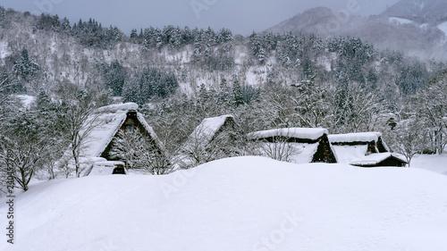 Wall mural Shirakawago village in winter, UNESCO world heritage sites, Japan.