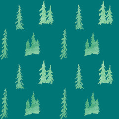 winter seamless pattern with glittering fir trees in forest