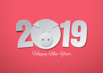 Happy new year 2019 with pig head cut from geometric shapes