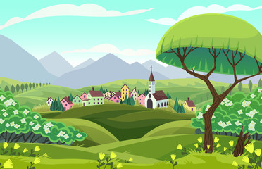 Vector spring landscape. Sight of a village, mountains and fields in cartoon style.
