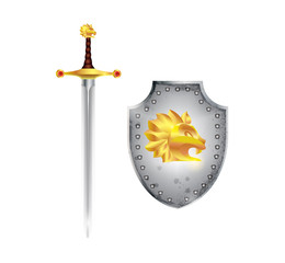 Blade and shield with lion head golden emblem.