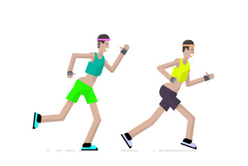 Sport a runner character design in flat style. Vector illustration.