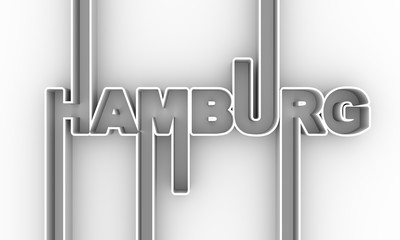 Image relative to Germany travel theme. Hamburg city name in geometry style design. Creative vintage typography poster concept. 3D rendering