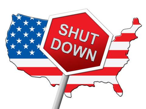 Usa Shutdown Map Political Government Shut Down Means National Furlough