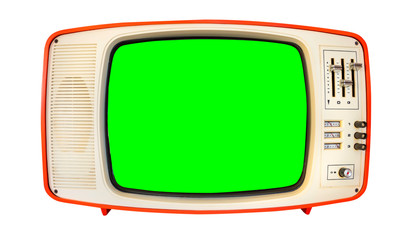 Retro television mock up isolated with a white background