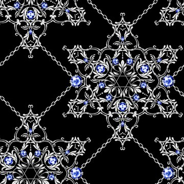 Jewelry background. Seamless pattern with crossed silver chains and David star with gems