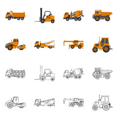 Isolated object of build and construction symbol. Set of build and machinery stock vector illustration.