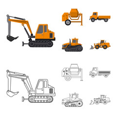 Vector design of build and construction logo. Set of build and machinery stock symbol for web.