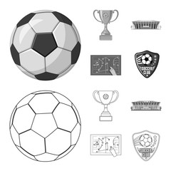 Vector design of soccer and gear symbol. Collection of soccer and tournament vector icon for stock.