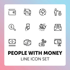 People with money line icon set. Set of line icons on white background. Money concept. Finance, banknotes, business. Vector illustration can be used for topics like economy, banking, business
