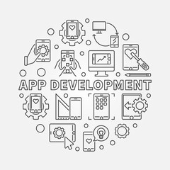App Development vector round concept minimal illustration in thin line style