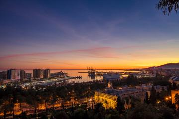 Malaga city at dusk, Andalusia, Spain