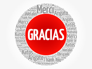 Gracias (Thank You in Spanish) word cloud in different languages, concept background