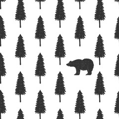 Seamless pattern with bear and pine tree. Christmas holiday design. Scandinavian style.
