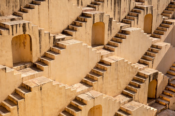Architecture of stairs at Abhaneri baori stepwell in Jaipur Rajasthan india.