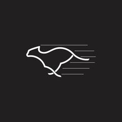 cheetah run fast linear logo vector
