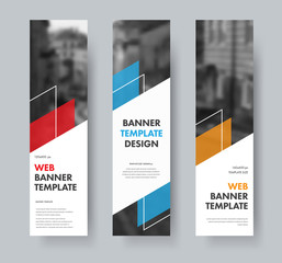 Wall Mural - Templates for vertical web banners with diagonal elements for text, color design elements, lines and space for photos.