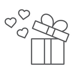 Gift thin line icon, love and package, gift box with hearts sign, vector graphics, a linear pattern on a white background.