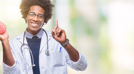 Afro american neurologist doctor or psychology man over isolated background surprised with an idea or question pointing finger with happy face, number one