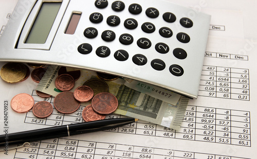 Accounting Business Calculations Calculator Counting Of Funds Dollars Euros And Cents