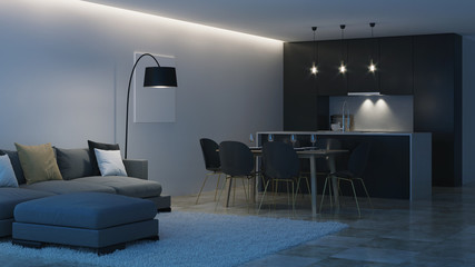Modern house interior. Black kitchen. Night. Evening lighting. 3D rendering.