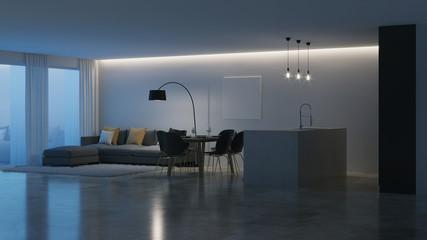 Modern house interior. Black kitchen. Night. Evening lighting. 3D rendering.