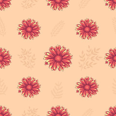 Seamless decorative floral pattern with pink and orange daisy flowers on light creamy background