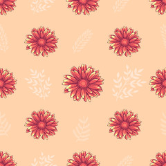 Seamless decorative floral pattern with pink and orange daisy flowers and white leaves on creamy background
