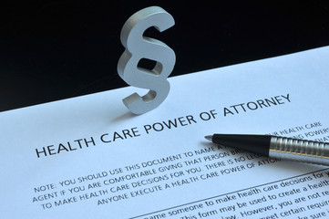 Health Care Power of Attorney, Paragraph, Gesundheit, USA, Vorsorgevollmacht, Patientenverfügung, Unterschrift, Betreuungsverfügung, Medizinrecht, Paragraph, Kugelschreiber