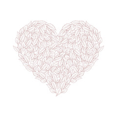 Bright Hand Drawn Floral Heart Symbol Vector Illustration. Pink Leaves Isolated on a White Background. Lovely Elegant Pastel Color Design. Adorable Branches of Heart Shape. Sweet Romantic Art.