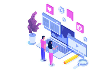 Web seo optimization illustration concept isometric. Landing page template. Sticker for web banner, web page, banner, presentation, social media, documents, cards, posters.