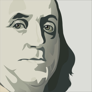 Close up view of Ben Franklin in this stylized drawing in muted colors