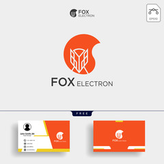 Negative space fox logo for illustration with business card template
