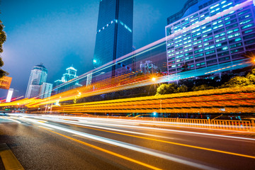 vehicle light trails at city road, shanghai, china.