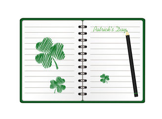 notebook with template hand-drawn green clover and pencil. Vector on white background. Greeting card on holiday. Patrick day. A realistic notepad. Office stationery. For notes