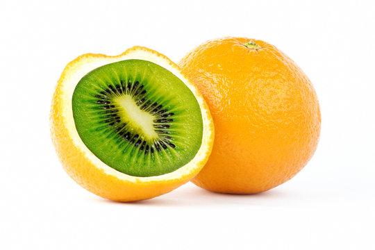 Creative photo manipulation of sliced orange with green kiwi inside isolated on white background